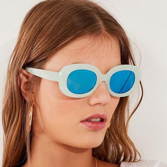 36def6f5e7d Chunky square plastic retro mint green sunglasses